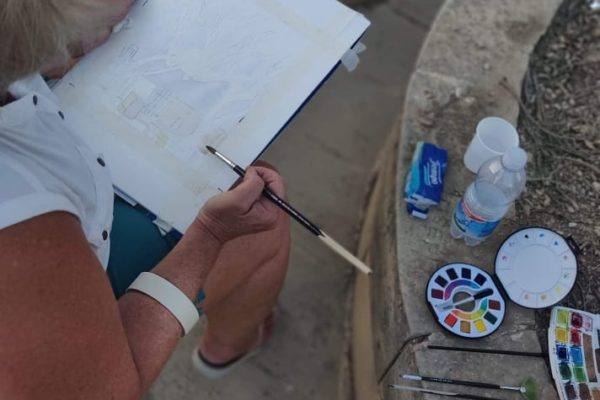 Watercolour Landscape Painting in Mdina, Malta - Art Classes Malta