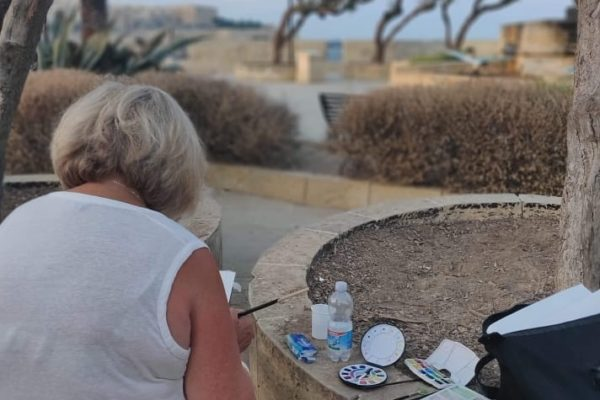Watercolour Landscape Painting in Senglea, Malta - Art Classes Malta